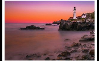Maine Portland Headlight Lighthouse At Sunset