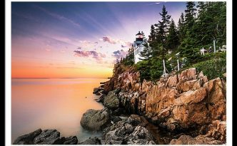 Bass Harbor Lighthouse in Acadia Bar Harbor at Sunset
