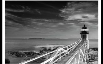 Clouds Over Marshall Point Lighthouse In Maine in Black & White