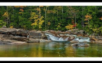 Fall Foliage in Autumn Along Swift River in New Hampshire Kancamagus Highway