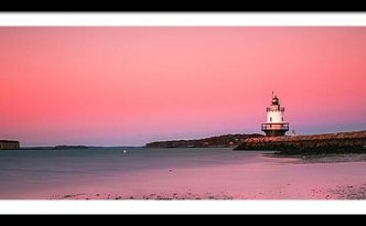 Maine Breakwater Light Sunset Panorama