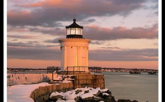 Maine Bug Light Lighthouse Snow At Sunset