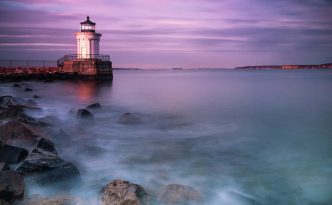 Fine Art by Ranjay Mitra Maine Bug Light Lighthouse Sunset