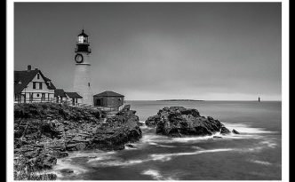 Maine Cape Elizabeth Lighthouse Aka Portland Headlight In Black & White