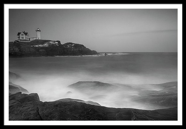 Maine Cape Neddick Lighthouse And Rocky Coastal Waves Black & White