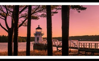 Maine Doubling Point Lighthouse At Sunset Panorama