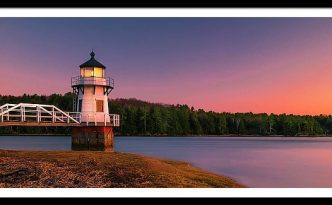 Maine Doubling Point Lighthouse In New Brunswick On Kennebeck River Sunset