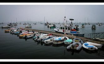 Maine Falmouth Boat Landing On Misty Morning Panorama