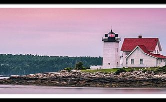 Maine Hendricks Head Lighthouse In Southport At Sunset