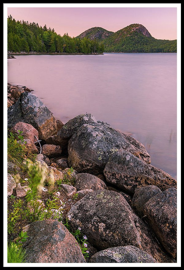 Maine Jordan Pond Bubble Mountain Sunset In Acadia National Park