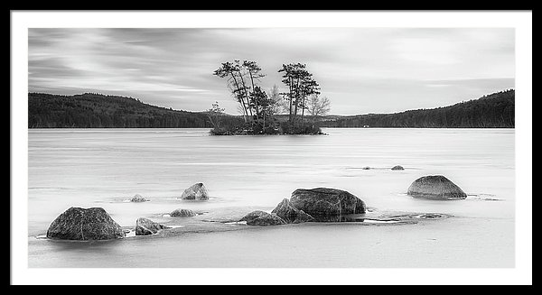 Maine Moose Pond In Winter Filled With Snow And Ice Panorama