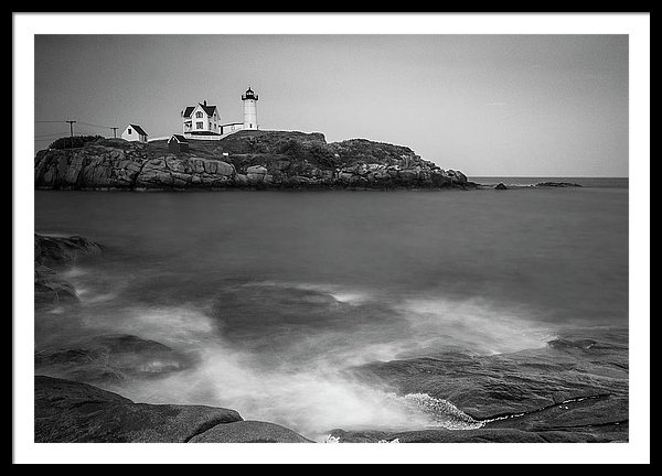 Maine Nubble Lighthouse And Rocky Shores of Cape Neddick In Bw