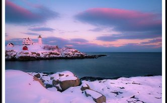 Maine Nubble Lighthouse In Winter Blue Hour