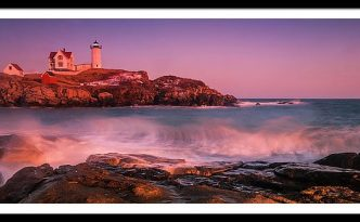 Maine Nubble Lighthouse Sunset and Waves Panorama