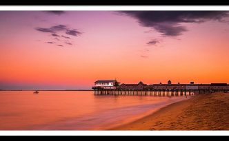 Maine Old Orchard Beach Pier At Sunset