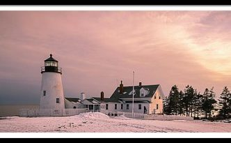 Maine Pemaquid Lighthouse After Winter Snow Storm