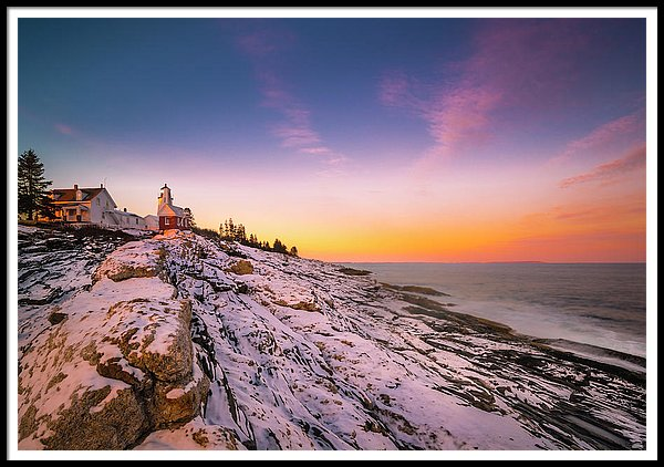 Maine Pemaquid Lighthouse In Winter Snow