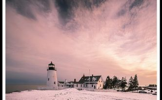 Maine Pemaquid Lighthouse Sunset After Winter Storm