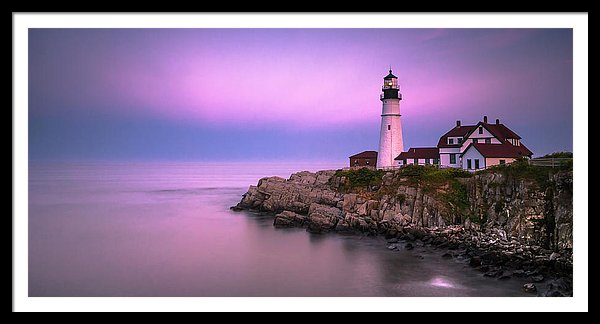 Maine Portland Headlight Blue Hour Panorama