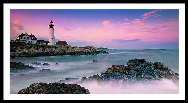 Maine Portland Headlight Lighthouse At Sunset Panorama