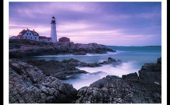 Maine Portland Headlight Lighthouse Blue Hour