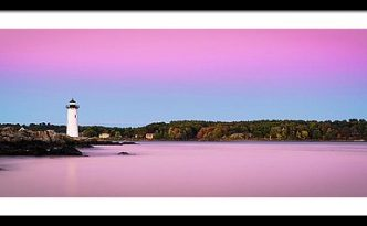 Maine Portsmouth Naval Base Lighthouse At Sunset Panorama