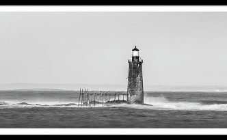 Maine Ram Island Ledge Lighthouse And Windy Surf In Black & White Panorama