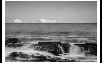 Maine Rocky Atlantic Coast Crashing Waves And Clouds In Black And White