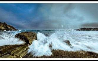 Maine Rocky Coast During Storm At Two Lights Panorama