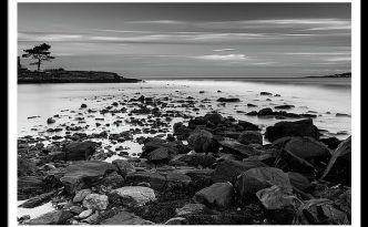 Maine Rocky Coast in Black & White