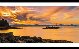Maine Rocky Coastal Sunset In Penobscot Bay Panorama