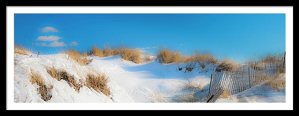 Maine Snow Dunes On Coast In Winter Panorama
