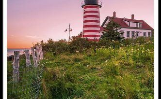 Maine West Quoddy Head Light At Sunset In Autumn