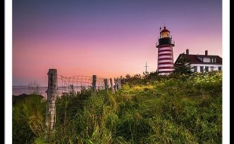 Maine West Quoddy Head Light At Sunset