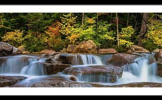 New Hampshire White Mountains Swift River Waterfall In Autumn With Fall Foliage