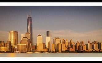 New World Trade Memorial Center And New York City Skyline Panorama